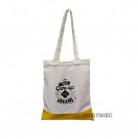 Túi vải trắng vàng - never