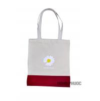 Túi vải trắng đỏ - hoa cúc